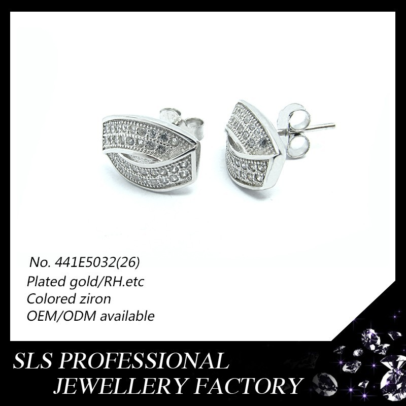 Custom made metal logo charms silver earring jewelry,Cross the zircon micro pave and Rhodium jewelry earring types fashion