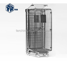 COLLAPSIBLE AND NESTABLE SECURITY METAL ROLL CAGE STORAGE CONTAINER FOR TRANSPORTATION AND DELIVERIES