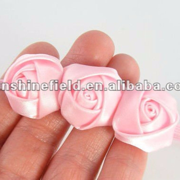 Triple Mini Satin Ribbon Roses Flowers Thin Headbands Baby Flower Headbands