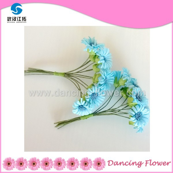 Blue Mulberry Paper Artificial Mini Sunflower Birthday Bouquet (PFOP-04)