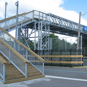 pedestrian bridge,metal structure for pedestrian crossing,steel bailey pedestrian bridge