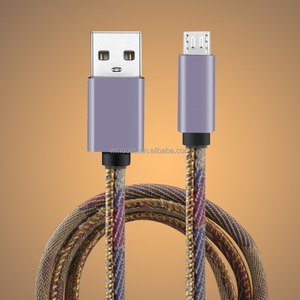 2016 hot sale multi-purpose usb cable 2in1 leather and jeans material LM usb cable