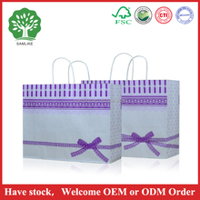 Colorful lace bow Manufacturers custom color gift shopping paper bag a4 size