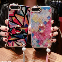 Luxury Crystal Rhinestone Soft Rubber Bumper Bling Diamond Glitter Mirror phone Case with Ring Holder