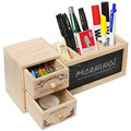 Fashionable wooden desktop pen holder with 2 drawers and chalkboard