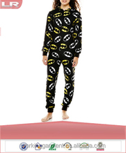OEM Adult Long-Sleeve One-Piece Hooded Pajamas/Polyester Onesie Jumpsuit