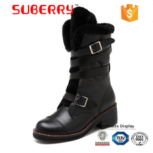 SUBERRY 100% Natural Wool Medium Heel Mid Calf Boots Genuine Leather Fur Buckle Women Winter Snow long boots women