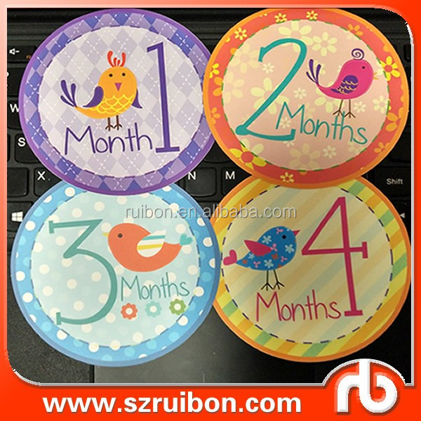1-12 months baby month decoration stickers monthly milestone sticker baby first year first festivals stickers