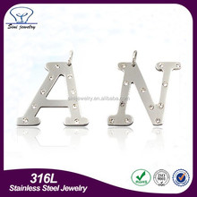 Factory supply 26 letters shaped pendant stainless steel alphabet pendant letter N shaped pendant
