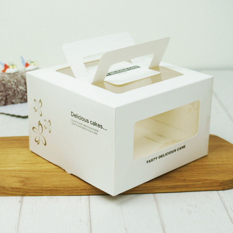 Food grade white cardboard paper 4 inch portable window cake box with handle