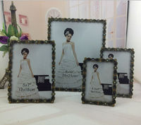 2014 new product home decor funny gold metal photo frame colorful diamond vintage photo frame for wedding / sexy picture