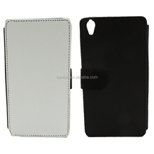 Hot selling blank Sublimation leather flip phone cover for sony XA