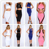 2014 new fashion Mesh Cut Out Sleeveless 2 piece high waisted bodycon cocktail party night dress for sexy women cheap price