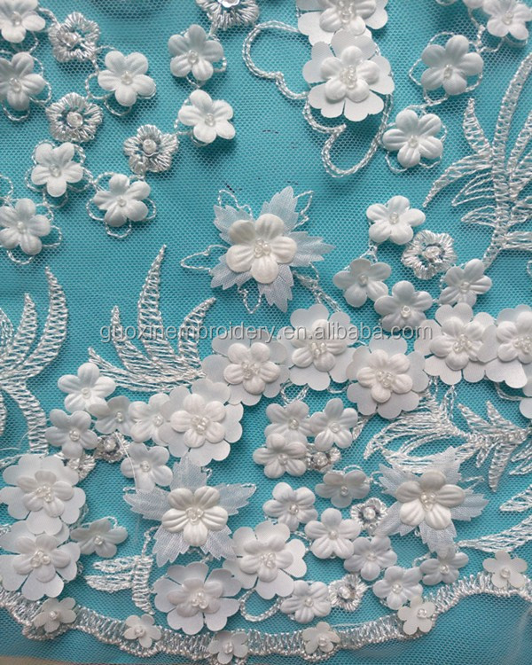 2016 Full applique embroidery lace for wedding dress/lace with flowers,beads,sequins all by hand