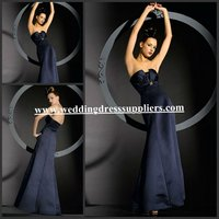 BMD102 Mermaid Design Strapless Sleeveless Empire Pleats Long Navy Blue Plus Size Bridesmaid Dresses