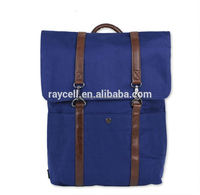 Fashion Unisex Casual Large Canvas Backpack and Blue rucksack with vintage leather trimming for Camping & Hiking Sport alibaba