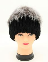 russian hot sale black color full rex rabbit fur pelt hat with silver fox fur on top