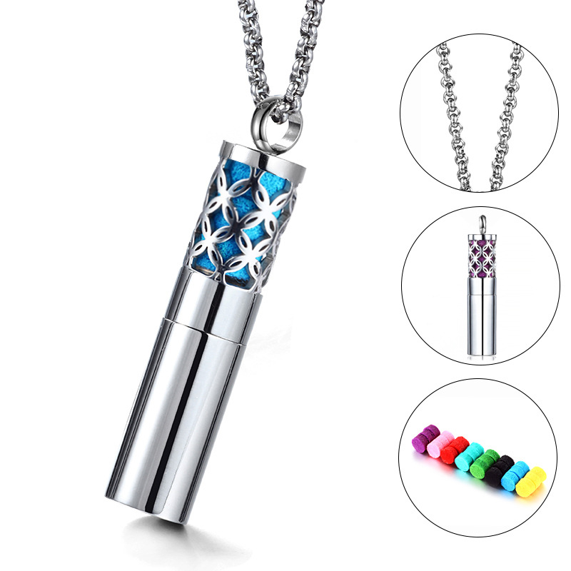 Fashion stainless steel cylinder essential oil diffuser necklace
