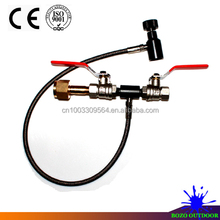 "Airsoft paintball equipment accessories Deluxe Dual Valve CO2 Fill Station Stianless Steel Braided hose 24"" inch"