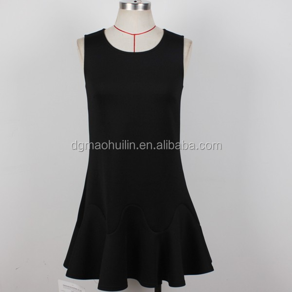 OEM casual sleeveless black dress bulk clothing for sale