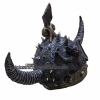TK-001YIwu Caddy2014 Glass Fiber Motorcycle Helmet Bull Horns Removable Personality Cool Samurai Retro Helmet