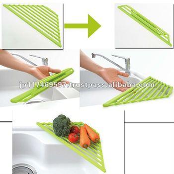 Silicon kitchenware sink mat silicon triangle roll drainer - Accessoires de cuisine originaux ...