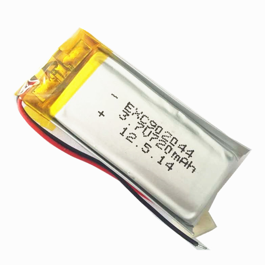 720mAH 3.7V 9X20X44mm rechargeable li-polymer battery cell with PCM and wires