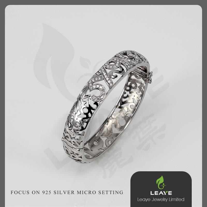Fashion Women Jewelry Daily Wear Number 925 Solid Silver Bangle