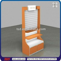 TSD-W828 factory custom wooden slatwall display racks/shoe wall display/slatwall shoe display