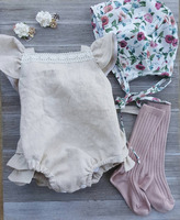 Yiwu Mingzhen Garment Factory Linen Fabric Baby Clothes Romper China Supplier
