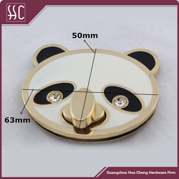 Fashion Metal Panda Shaped Twist Lock For Handbag