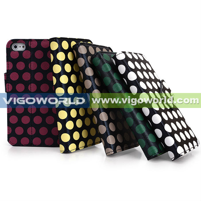 Black /Red Stylish Polka Dot Premium PU Leather Protective Skin Stand Case Cover Wallet For iPhone 5