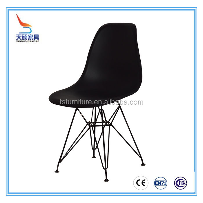 TS-051 Modern PP folding black dining plastic chair with stainless steel leg