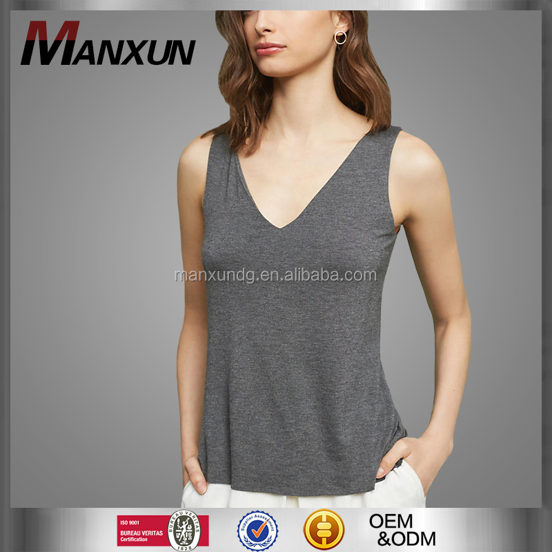 Hot Selling Women Sexy V Neck Sleeveless Tank Top Simple Plain Color Yoga Wear Fashion Laced Back Sportswear