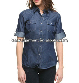 Hot selling 100%cotton short sleeve blue washed denim/cowboy casual shirts for women/ladies with pointed collar and two pockets