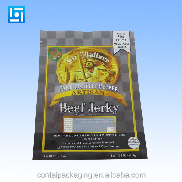 wholesale three side seal clear plastic bags for sausage/beef jerky packaging