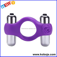 Double Bullet Cock Ring Massager Vibrator vagina sex toys for men