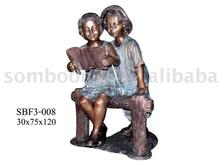 Boy & Girl Read Book (Bronze Sculpture & Bronze Statue)