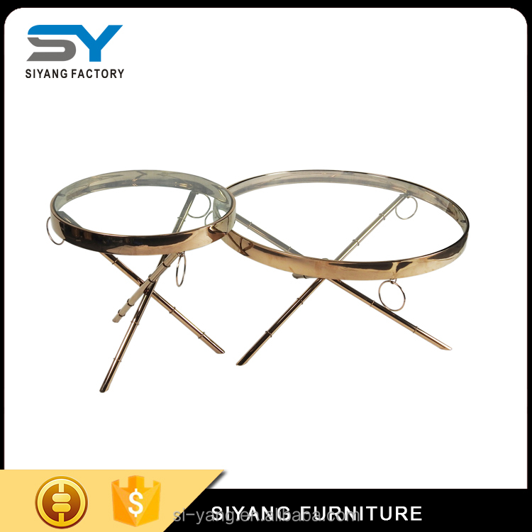 Special design round glass stainless steel coffee table