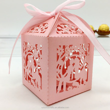 Pretty and decorative pink birde and groom paper laser cut wedding candy box chocolate favour box baby birthday gift box