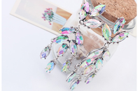 Classic Crystals Fashion Colorful Zircon Leaves Stud Earrings