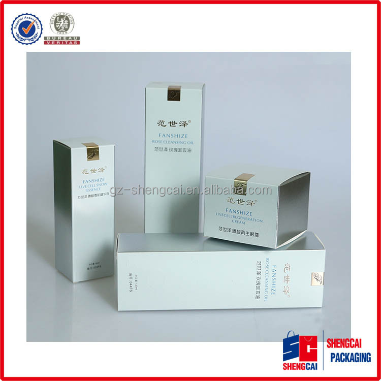 Customer printing logo Golden Hot-stamping white art paper box packaging for Skin care products