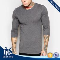 guangzhou shandao autumn men gray o-neck long sleeve 180g 60 cotton 40 polyester designer blank slim fit t shirts