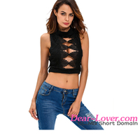Dear-lover Black Embroidered Luxe women sexi top