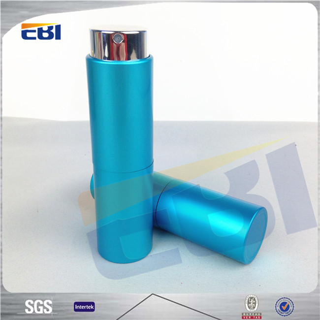 Metal colorful blue bottle perfume