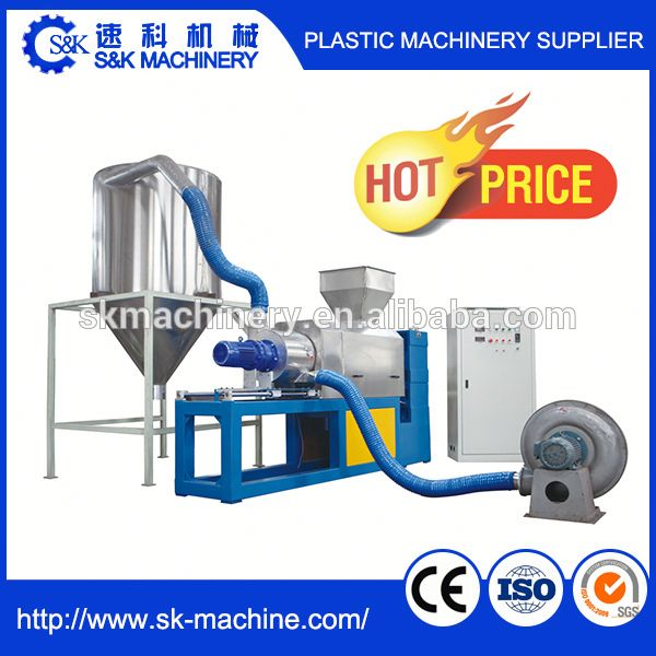 Film plastic recycle washing using dryer squeezer dewatering machine