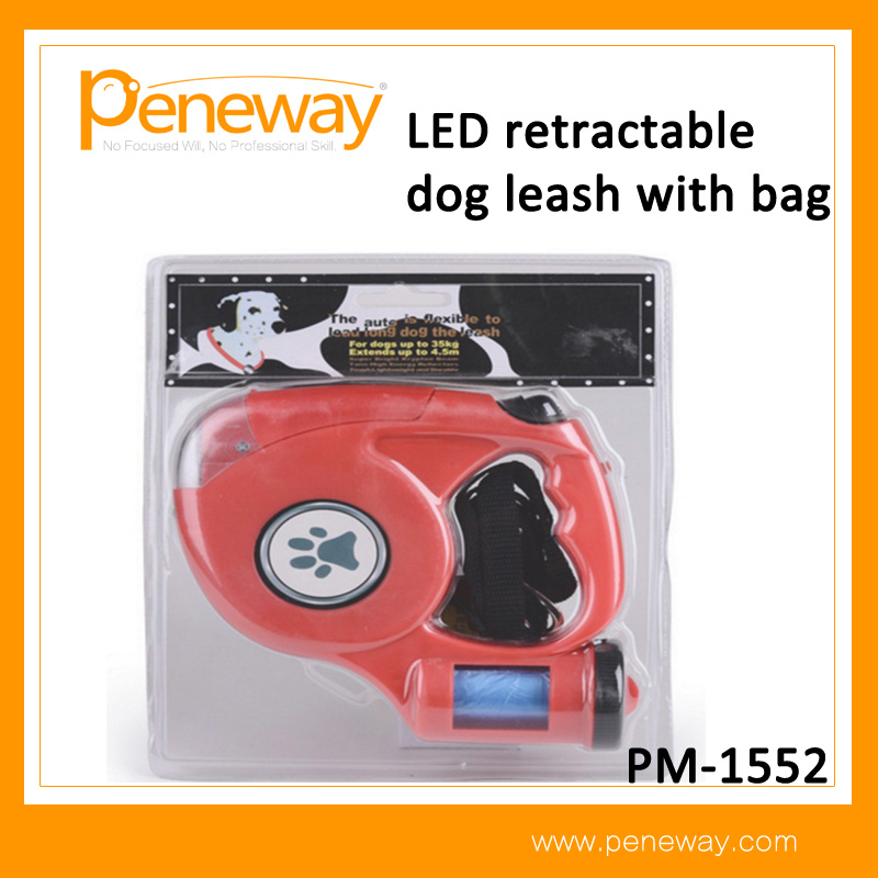Outdoor Pet leash LED Retractable dog leash with waste bag dispenser