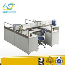Factory pirce wooden office workstation 4 people double sided computer desks with drawers