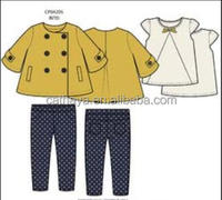Girls' 3/4 sleeve coat with a dot pant