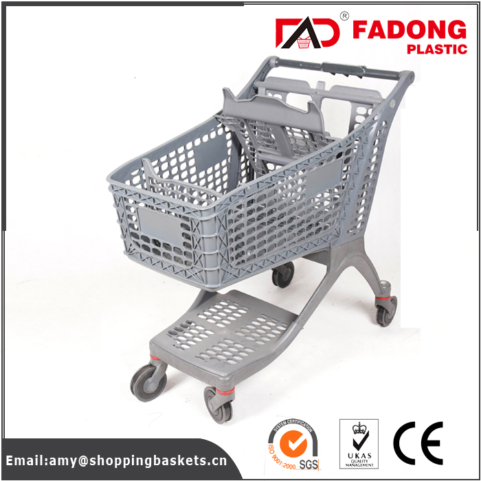 Folding grocery shopping carts 4 wheels of all plastic for store use